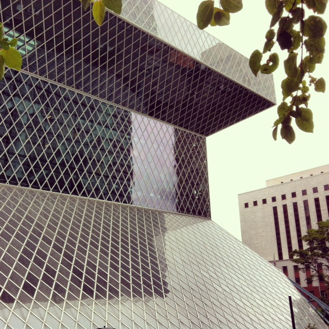 Seattle central library as viewed from a neighboring rooftop park
