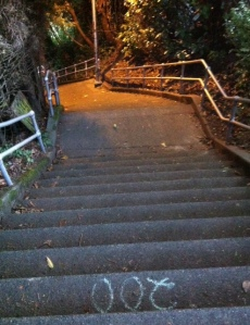 stairs going down with apple