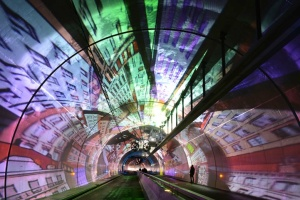 video projection in a tunnel