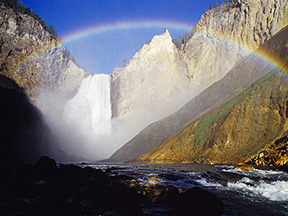 A Rainbow on the Lower Falls of the Yellowstone River