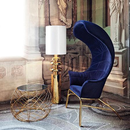 tag blue velvet chair