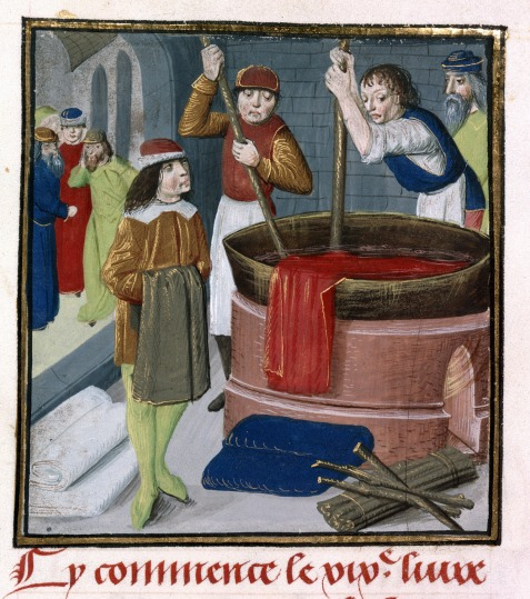 Dyers_soaking_red_cloth_in_a_heated_barrel_-_Des_Proprietez_des_Choses_(Volume_II)_(1482),_f.269_-_BL_Royal_MS_15_E_III.jpg